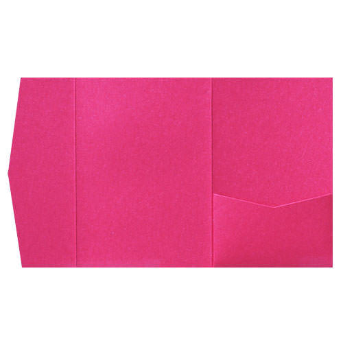 Razzle Pink Solid Pocket Invitation Card, A7 Himalaya - Paperandmore.com