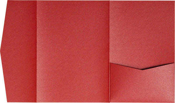Jupiter Red Metallic Pocket Invitation Card, A7 Himalaya