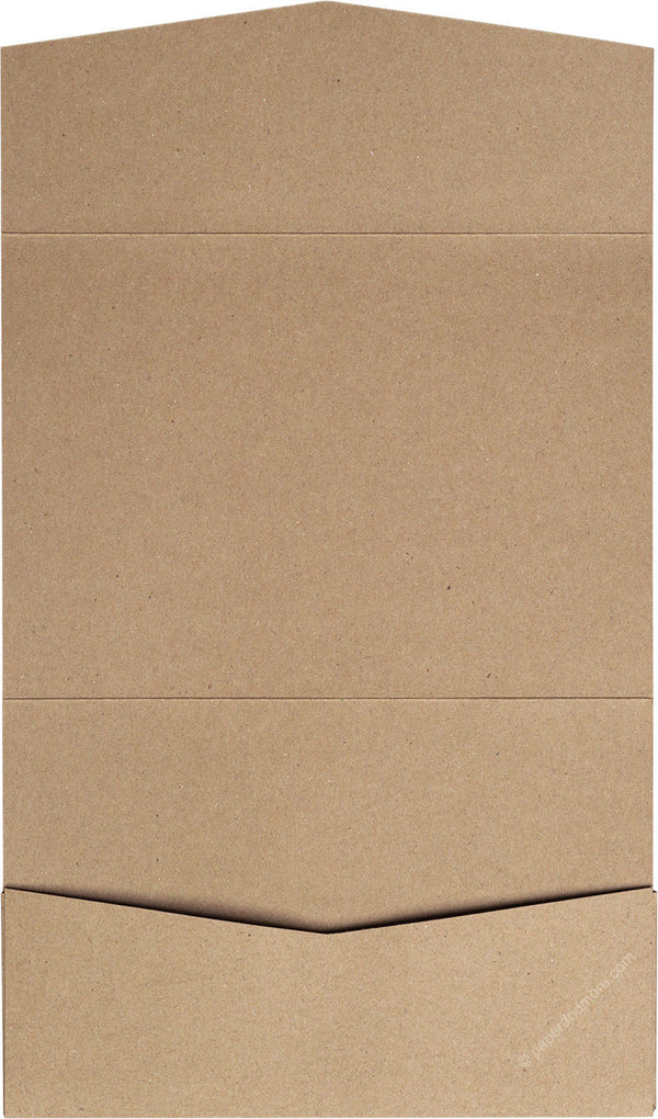 Kraft Brown 130 lb Recycled Pocket Invitation Card, A7 Atlas - Paperandmore.com