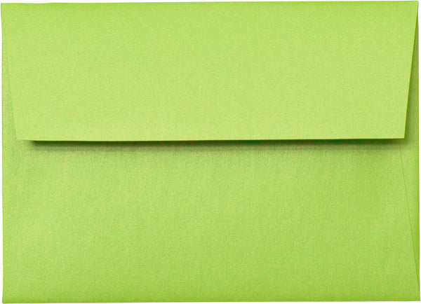 "A-7 Lime Green Satin Metallic Envelopes (5 1/4"" x 7 1/4"") - Paperandmore.com"