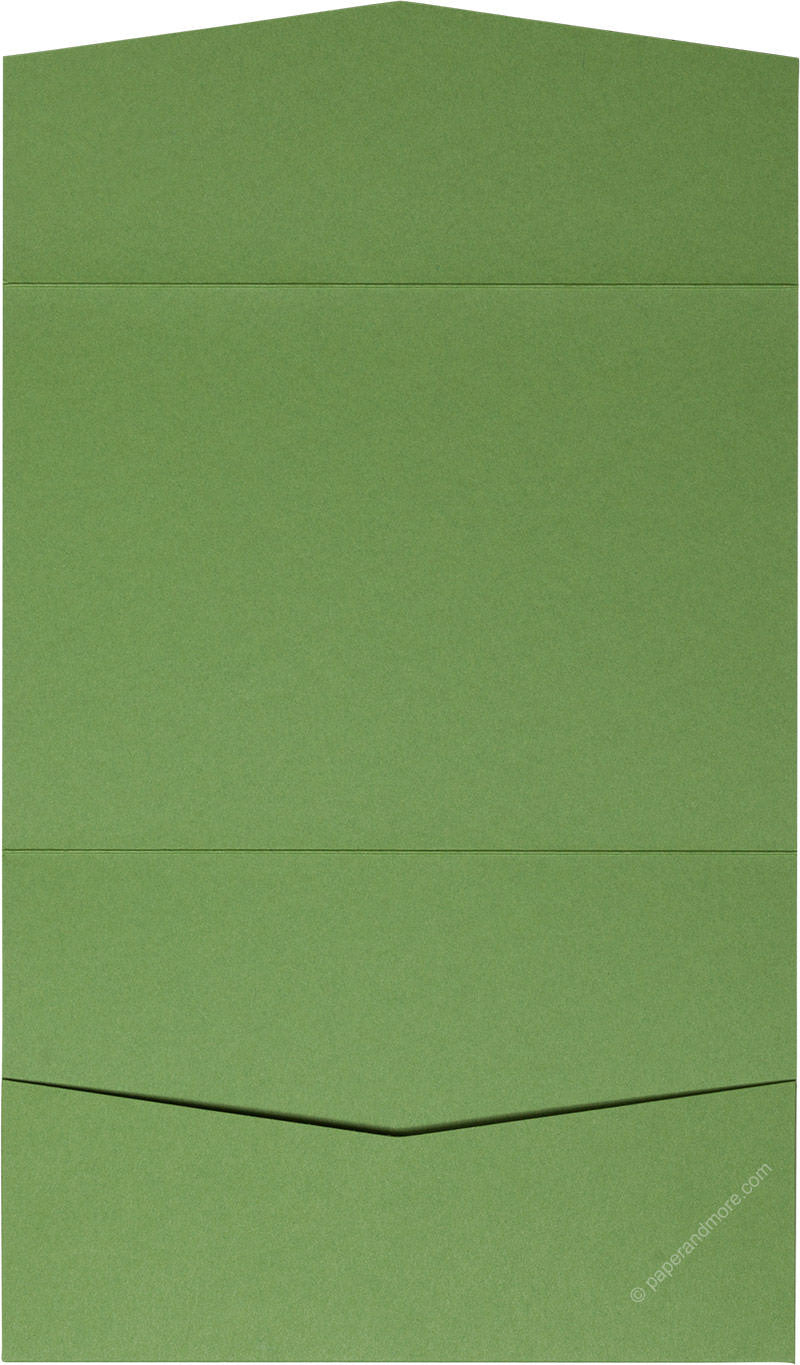 Meadow Green Solid Pocket Invitation Card, A7 Atlas - Paperandmore.com