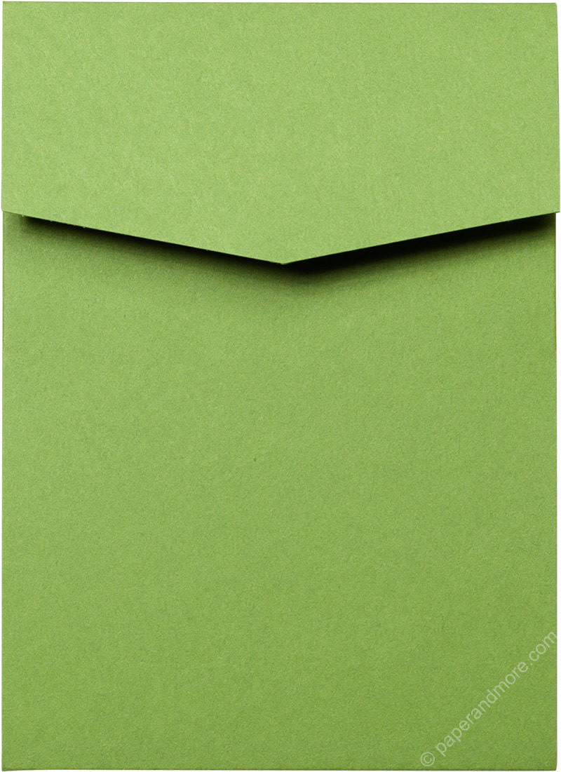 Meadow Green Solid Pocket Invitation Card, A7 Cascade
