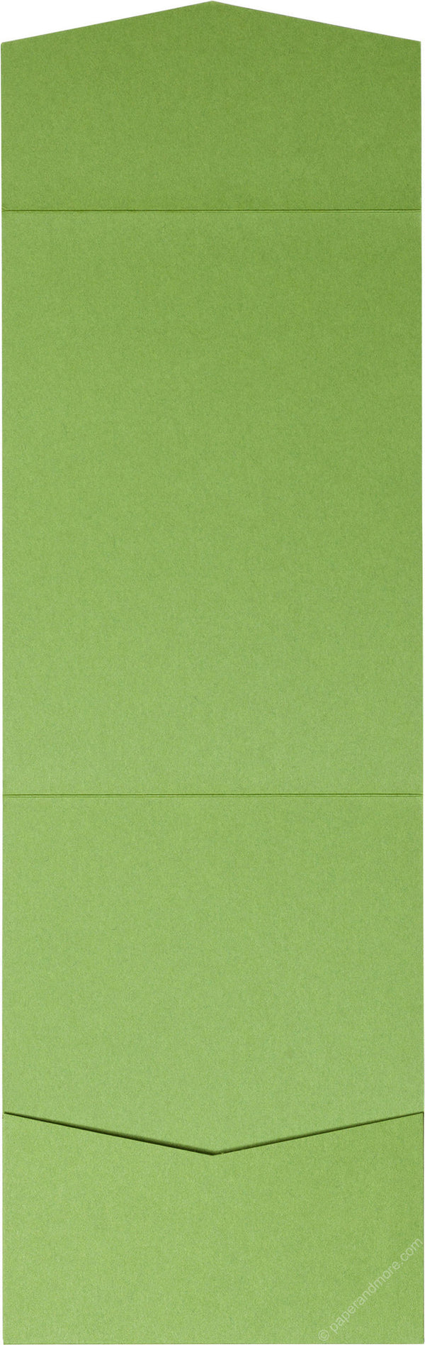 Meadow Green Solid Pocket Invitation Card, A7 Cascade - Paperandmore.com