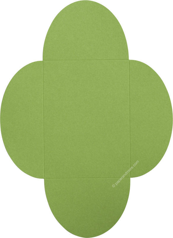 "Meadow Green Solid Petal Card 100#, 5 1/8"" x 7"""