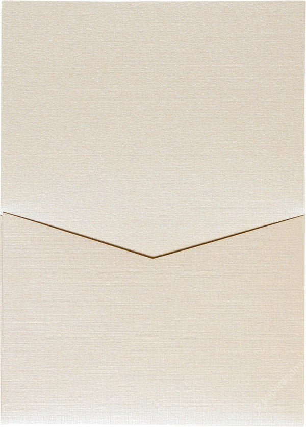 Metallic Cream Linen Pocket Invitation Card, A7 Denali - Paperandmore.com