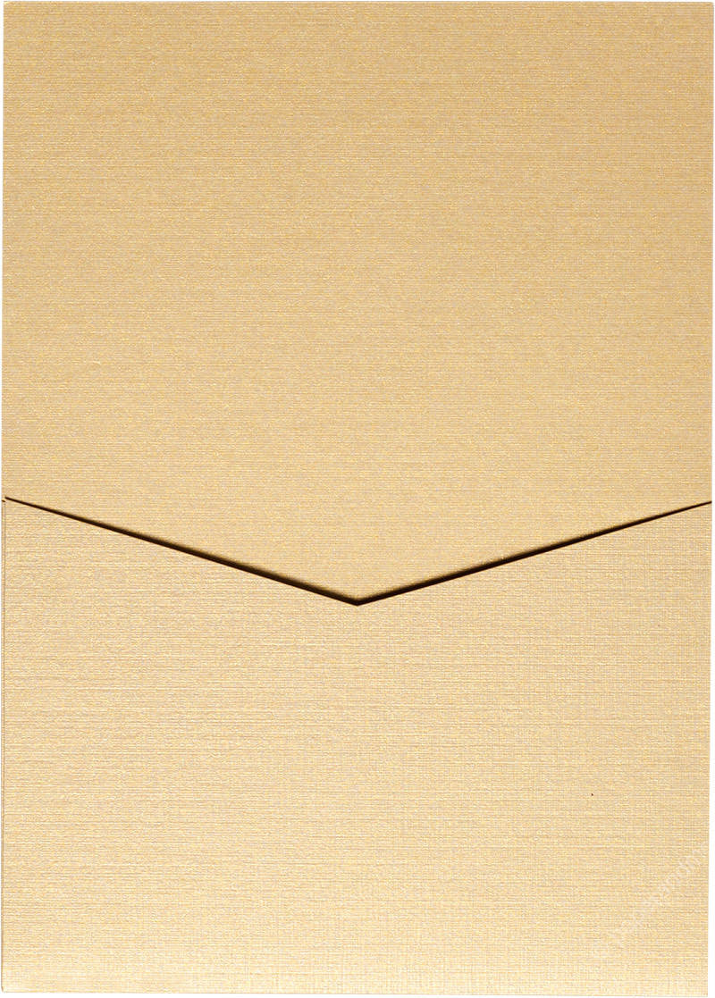 Metallic Gold Linen Pocket Invitation Card, A7 Denali - Paperandmore.com