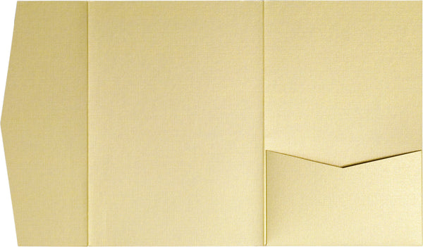 Metallic Gold Linen Pocket Invitation Card, A-7.5 Himalaya