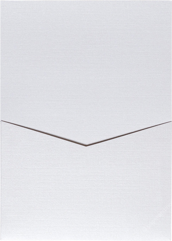 Metallic White Linen Pocket Invitation Card, A7 Denali - Paperandmore.com