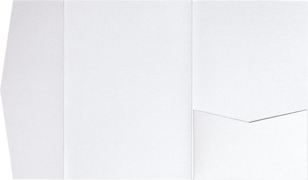 Metallic White Linen Pocket Invitation Card, A-7.5 Himalaya - Paperandmore.com