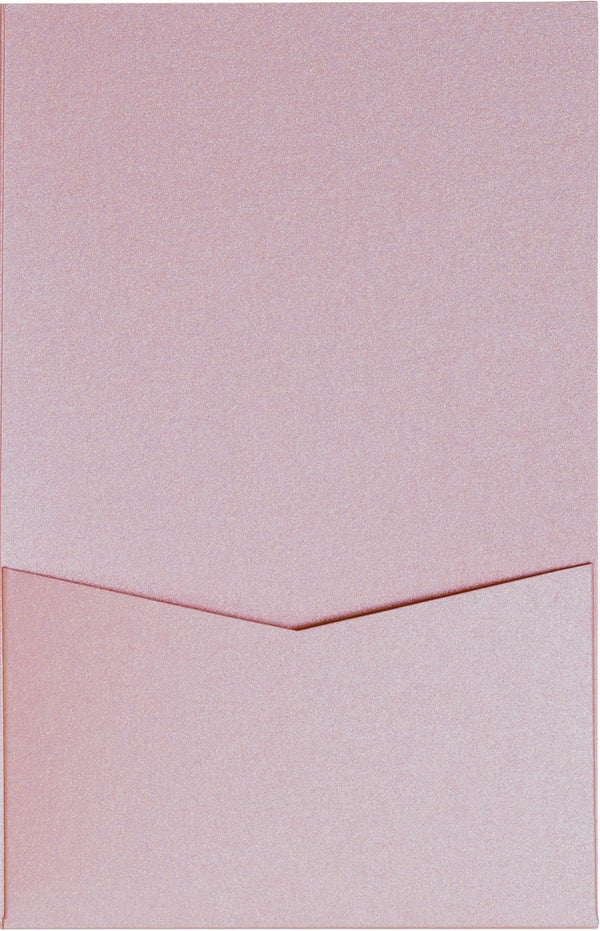 Misty Rose Metallic Pocket Invitation Card, A7 Denali - Paperandmore.com