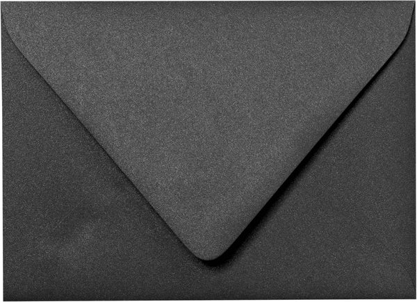 "Outer A-7.5 Onyx Black Metallic Euro Flap Envelopes (5 1/2"" x 7 1/2"") - Paperandmore.com"