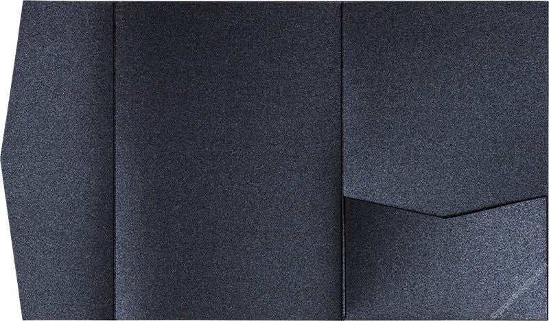 Onyx Black Metallic Pocket Invitation Card, A-7.5 Himalaya - Paperandmore.com