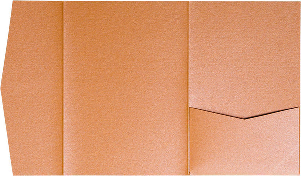 Orange Flame Metallic Pocket Invitation Card, A7 Himalaya