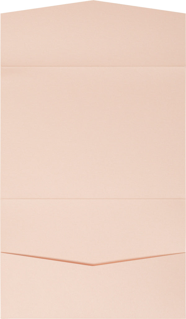 Peach (Coral) Metallic Pocket Invitation Card, A7 Atlas