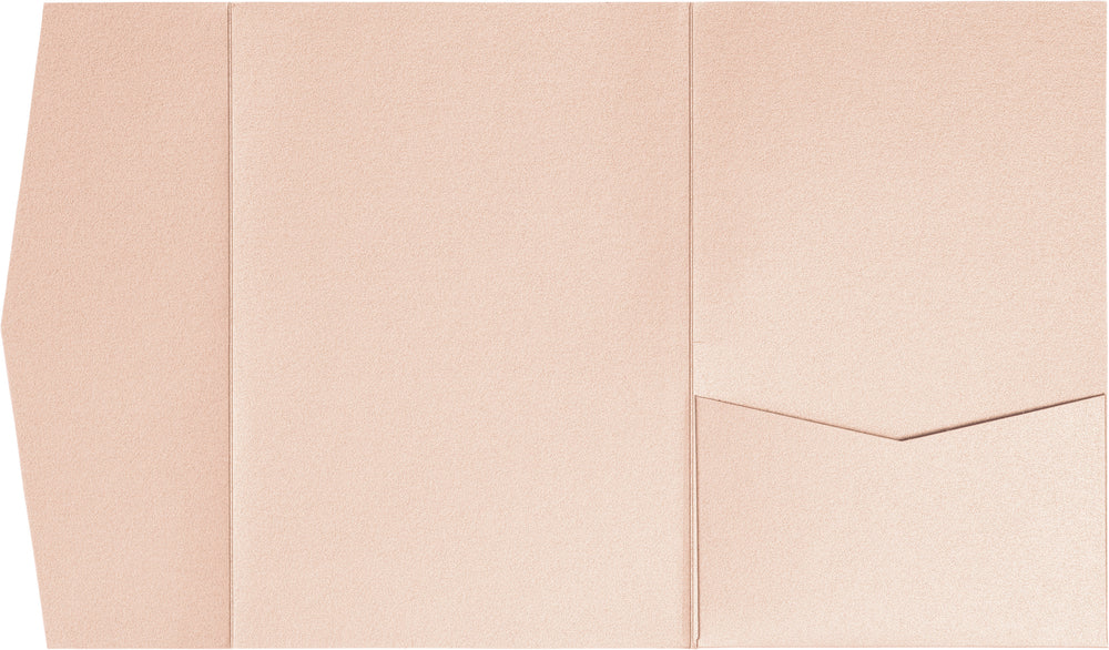 Peach (Coral) Metallic Pocket Invitation Card, A7 Himalaya
