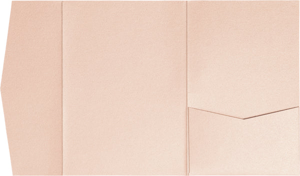 Peach (Coral) Metallic Pocket Invitation Card, A-7.5 Himalaya