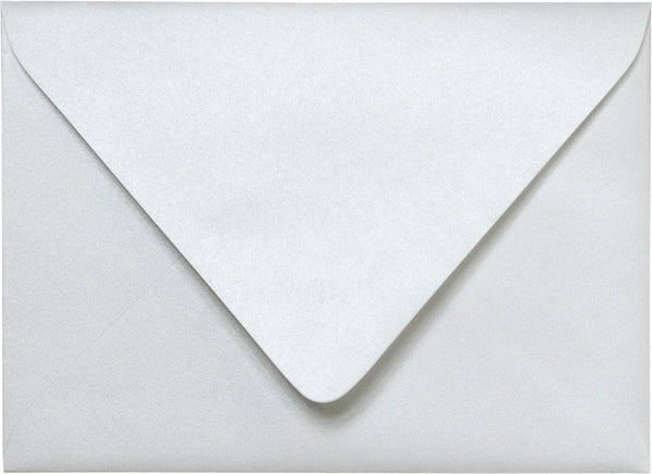 "Outer A-7.5 Pearl White Metallic Euro Flap Envelopes (5 1/2"" x 7 1/2"") - Paperandmore.com"