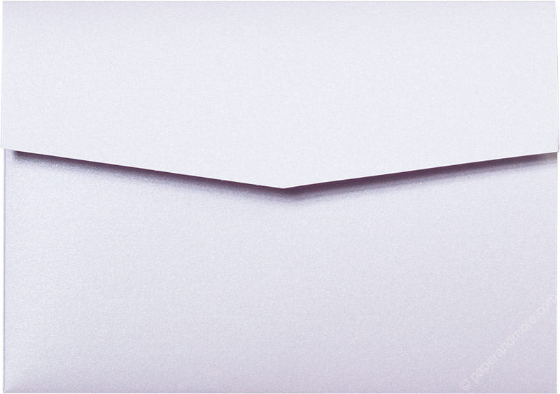 Pearl White Metallic Pocket Invitation Card, A-7.5 Himalaya - Paperandmore.com