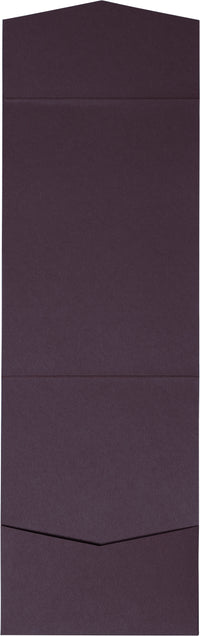 Purple Eggplant Solid Pocket Invitation Card, A7 Cascade