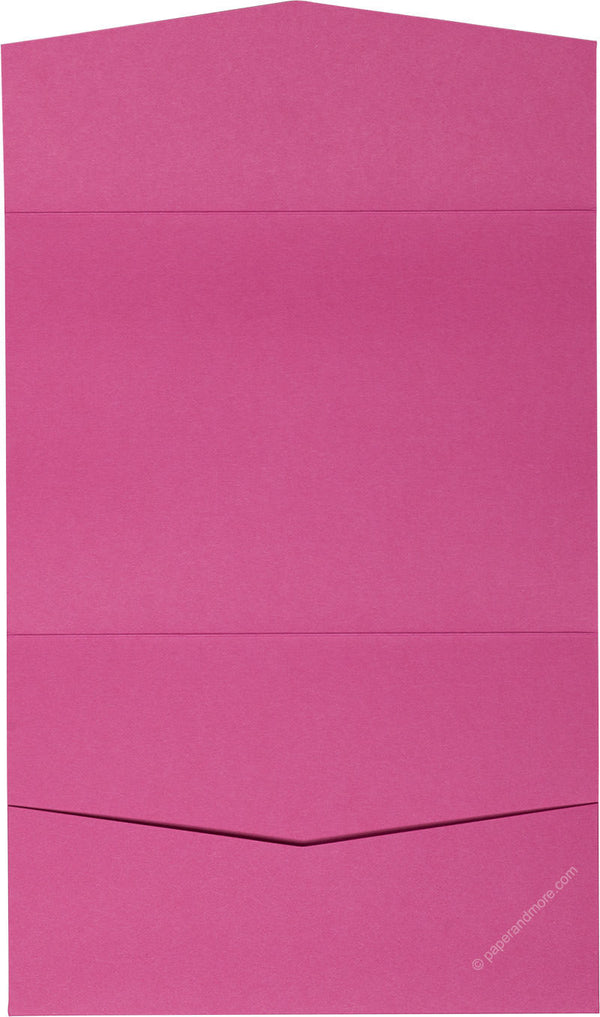 Razzle Pink Solid Pocket Invitation Card, A7 Atlas - Paperandmore.com