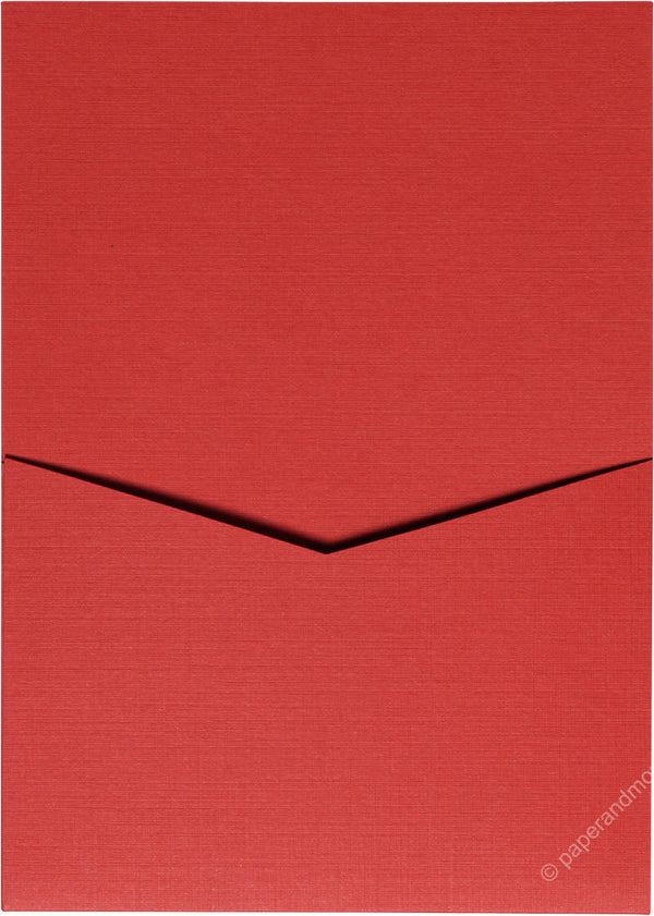 Red Pepper Linen Pocket Invitation Card, A7 Denali - Paperandmore.com