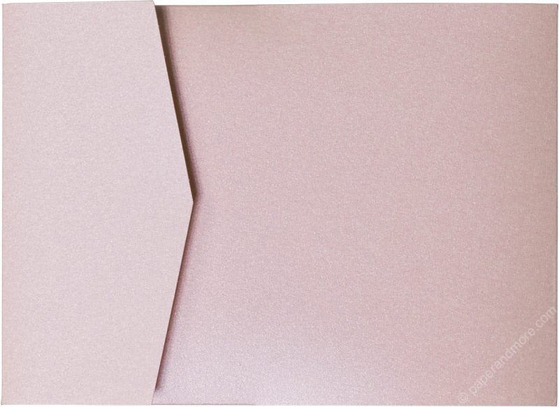 Rose Pink Metallic Pocket Invitation Card, A7 Cascade - Paperandmore.com