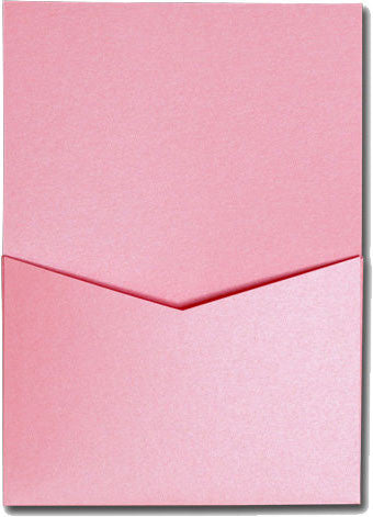Rose Pink Metallic Pocket Invitation Card, A7 Denali - Paperandmore.com