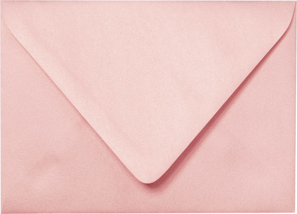 "A-2 Rose Pink Metallic Euro Flap Envelopes (4 3/8"" x 5 3/4"") - Paperandmore.com"