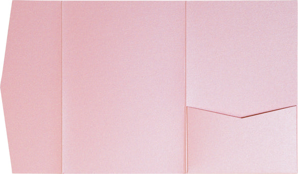 Rose Pink Metallic Pocket Invitation Card, A7 Himalaya - Paperandmore.com
