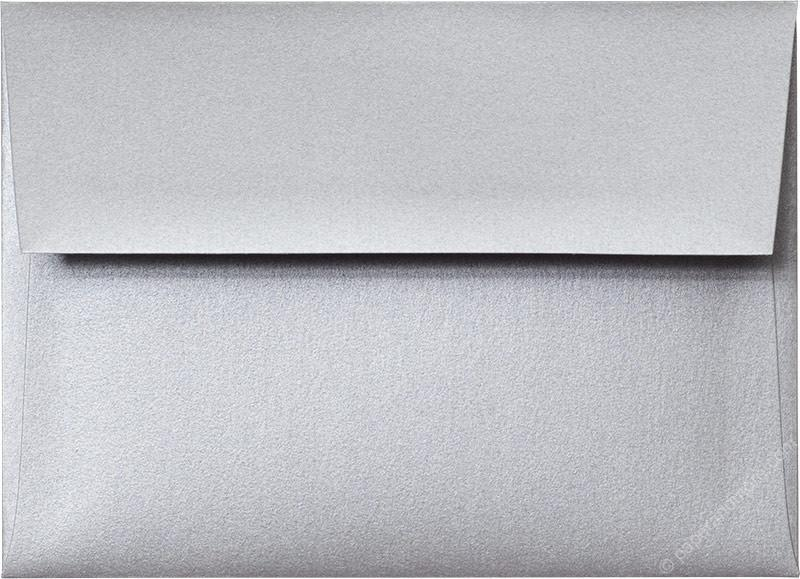 "Outer A-7.5 Silver Metallic Square Flap Envelopes (5 1/2"" x 7 1/2"") - Paperandmore.com"