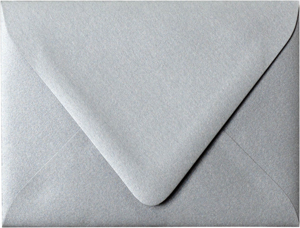 "A-2 Silver Metallic Euro Flap Envelopes (4 3/8"" x 5 3/4"") - Paperandmore.com"