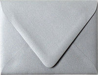 "Outer A-7.5 Silver Metallic Euro Flap Envelopes (5 1/2"" x 7 1/2"") - Paperandmore.com"