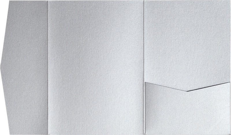 Silver Metallic Pocket Invitation Card, A-7.5 Himalaya - Paperandmore.com