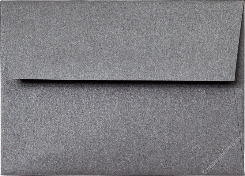 "Outer A-7.5 Steel Gray Metallic Square Flap Envelopes (5 1/2"" x 7 1/2"") - Paperandmore.com"