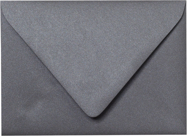 "Outer A-7.5 Steel Gray Metallic Euro Flap Envelopes (5 1/2"" x 7 1/2"") - Paperandmore.com"