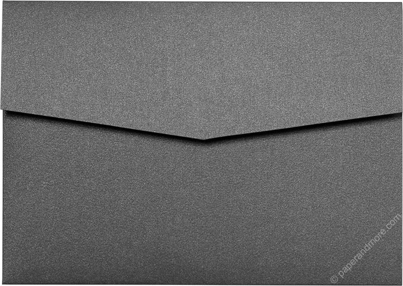 Steel Gray Metallic Pocket Invitation Card, A7 Himalaya - Paperandmore.com