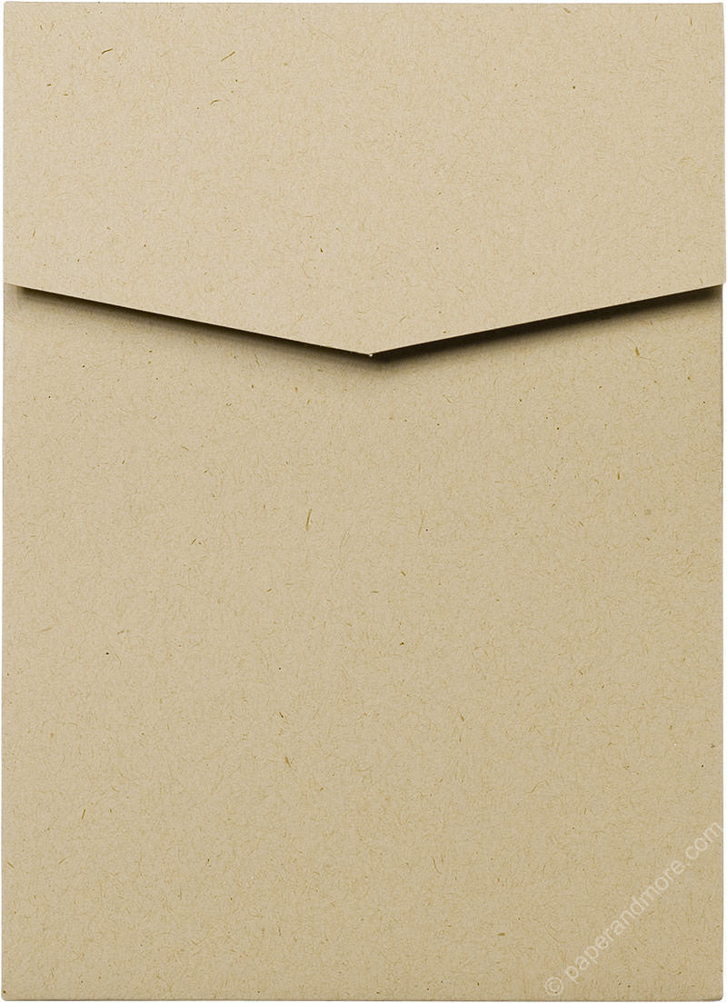 Taupe Brown Recycled Pocket Invitation Card, A7 Cascade - Paperandmore.com