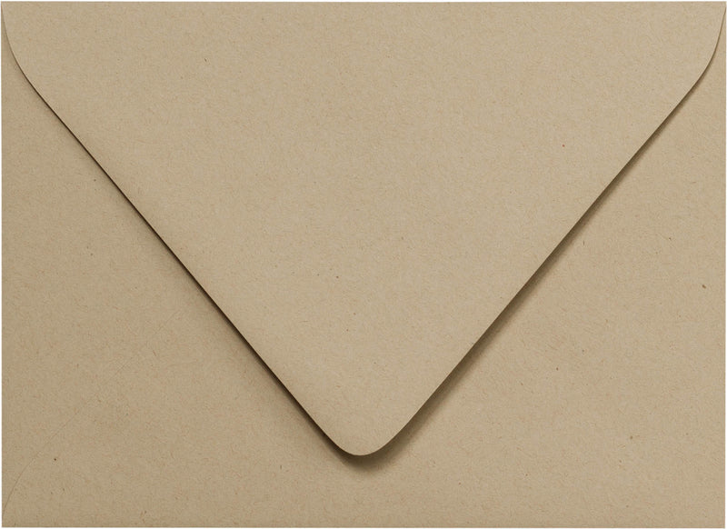 "Outer A-7.5 Taupe Brown Fiber Recycled Euro Flap Envelopes (5 1/2"" x 7 1/2"") - Paperandmore.com"
