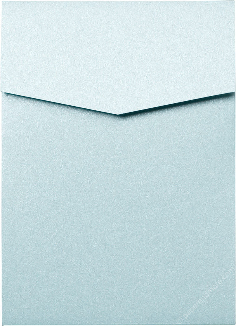 Topaz Blue Metallic Pocket Invitation Card, A7 Cascade - Paperandmore.com