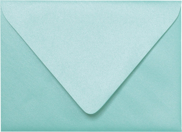 "A-2 Topaz Blue Metallic Euro Flap Envelopes (4 3/8"" x 5 3/4"") - Paperandmore.com"