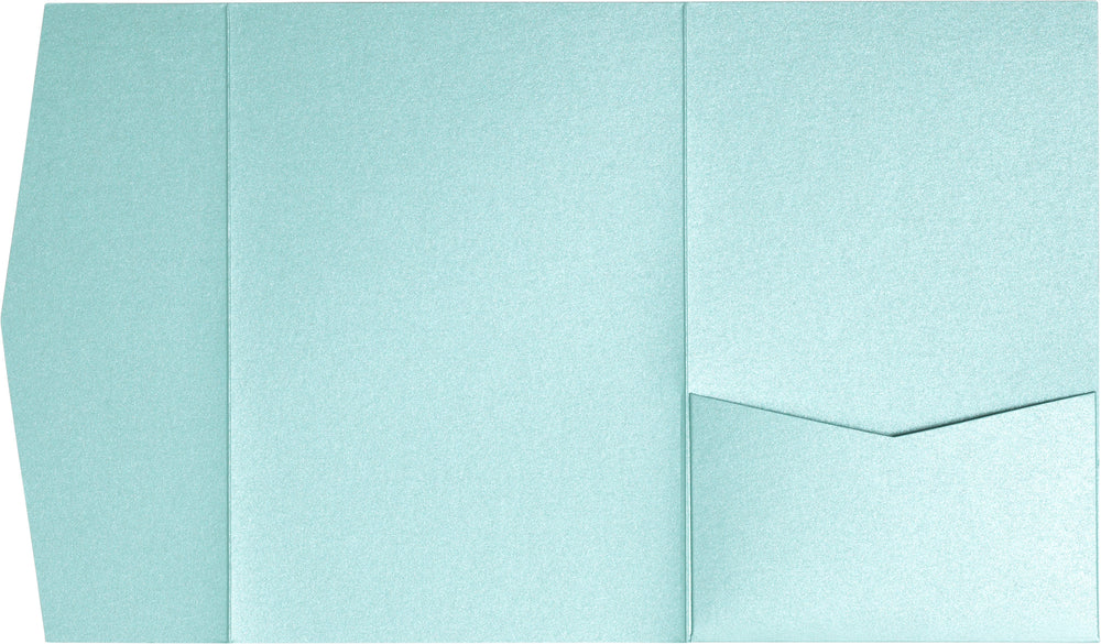 Topaz Blue Metallic Pocket Invitation Card, A7 Himalaya