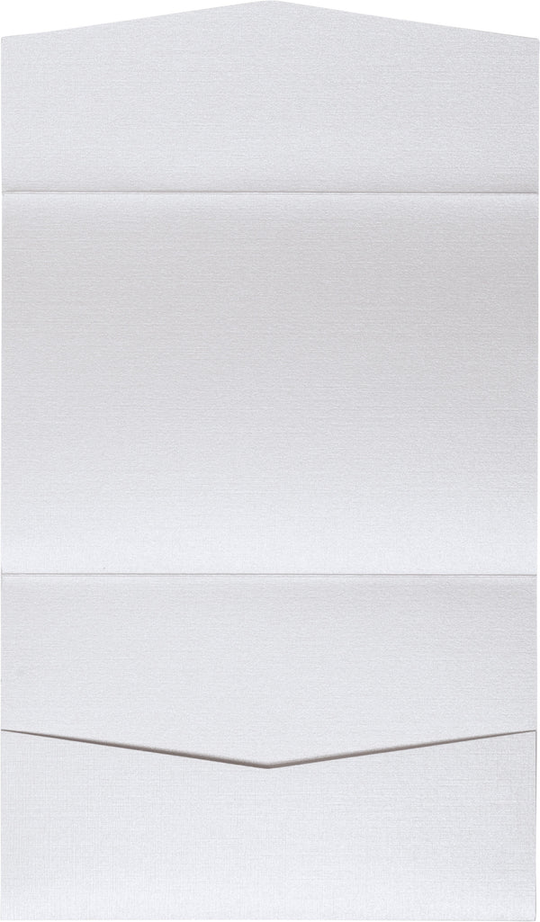Metallic White Linen Pocket Invitation Card, A7 Atlas - Paperandmore.com