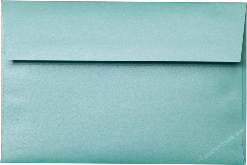 "A-9 Aqua Lagoon Metallic Envelopes (5 3/4"" x 8 3/4"") - Paperandmore.com"