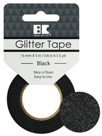 Black Glitter Tape - 15 mm x 5.5 yd - Paperandmore.com