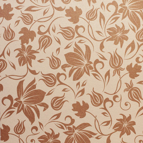 Brown Spring Bloom on Champagne Cream Metallic 80# Text, 8 1/2