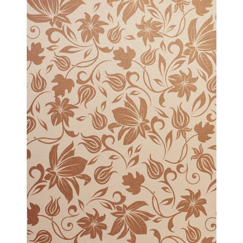 Brown Spring Bloom on Champagne Cream Metallic 107#, 8 1/2