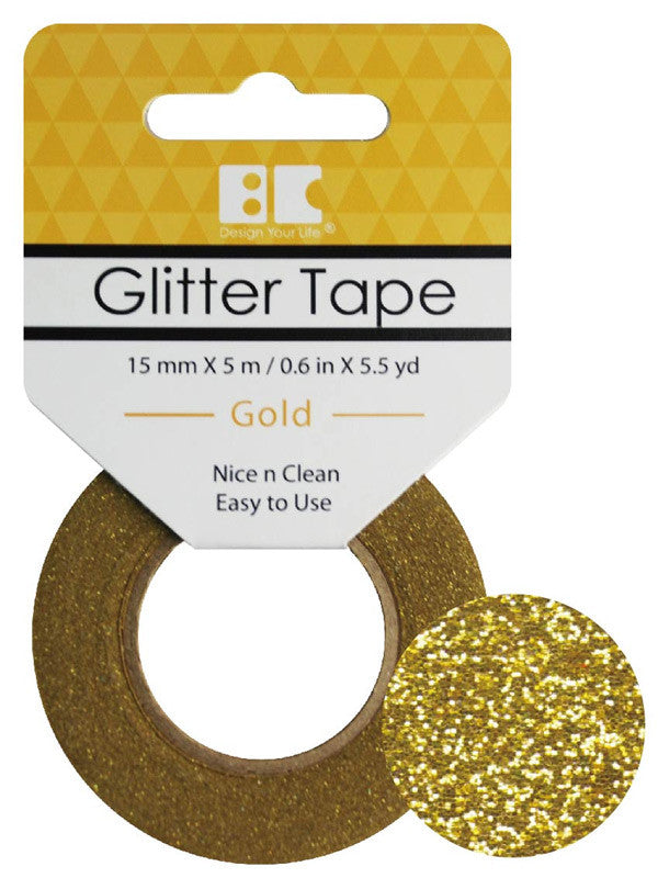 Gold Glitter Tape - 15 mm x 5.5 yd - Paperandmore.com