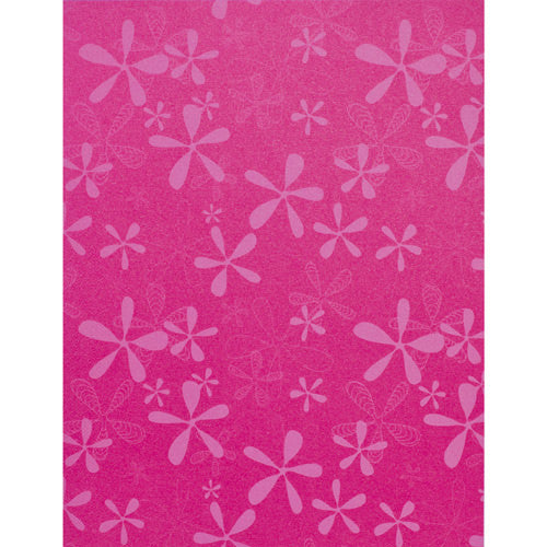 "Light Pink Retro Flower on Pink Azalea Metallic 105#, 8 1/2"" x 11"" - Paperandmore.com"