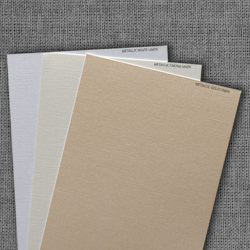 Metallic White Linen Pocket Invitation Card, A7 Atlas
