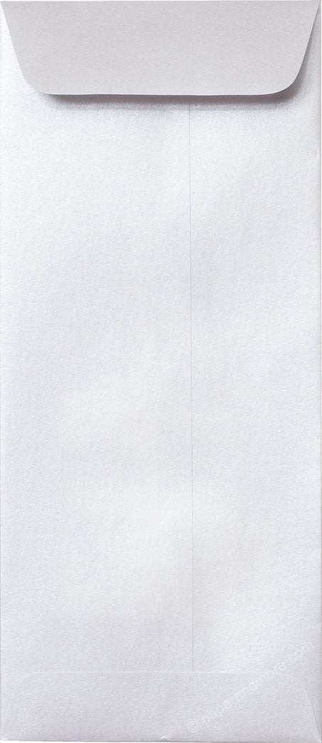 "#10 Policy Pearl White Metallic Envelopes (4 1/8"" x 9 1/2"") - Paperandmore.com"